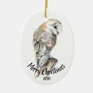 Ornamento De Cerâmica Feliz Natal datado do pássaro da coruja de celeiro