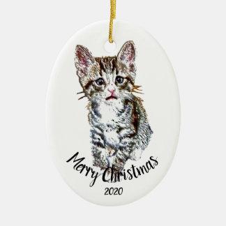 Ornamento De Cerâmica Feliz Natal datado feito sob encomenda do animal