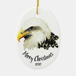 Ornamento De Cerâmica Feliz Natal datado feito sob encomenda do pássaro