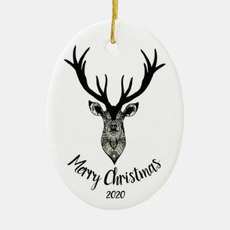 Ornamento De Cerâmica Feliz Natal datado feito sob encomenda do veado ou
