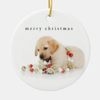 Ornamento De Cerâmica Feliz Natal do Playtime do filhote de cachorro do
