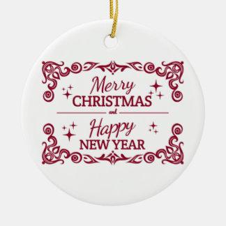Ornamento De Cerâmica Feliz Natal e o feliz ano novo brancos e vermelhos