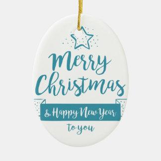 Ornamento De Cerâmica Feliz Natal & elegante simples do feliz ano novo