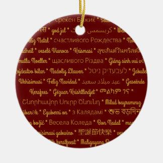 Ornamento De Cerâmica Feliz Natal em línguas estrangeiras