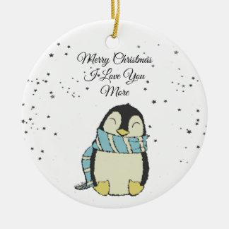 Ornamento De Cerâmica Feliz Natal eu te amo mais