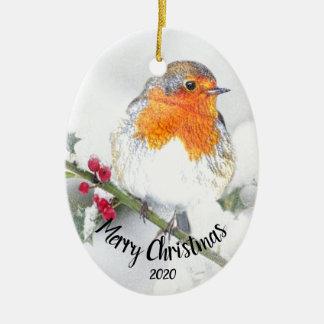 Ornamento De Cerâmica Feliz Natal inglês datado do pisco de peito