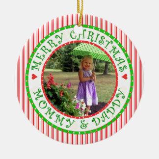 Ornamento De Cerâmica Feliz Natal mamães e bastão de doces da foto do