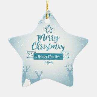 Ornamento De Cerâmica Feliz Natal & original elegante do feliz ano novo