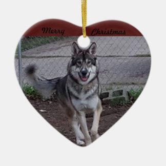 Ornamento De Cerâmica Feliz Natal que funciona o lobo