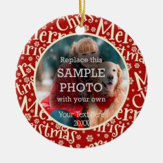 Ornamento De Cerâmica Feliz Natal rústico, foto dois, frente e verso