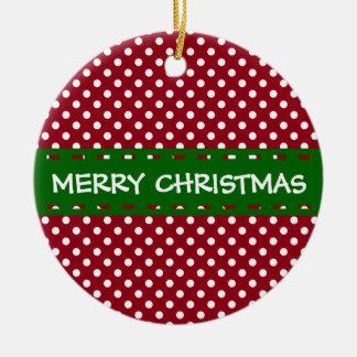 Ornamento De Cerâmica Feliz Natal vermelho e bolinhas brancas