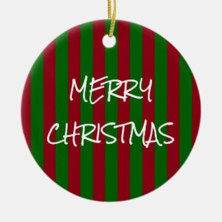 Ornamento De Cerâmica Feliz Natal vermelho e listra verde personalizada