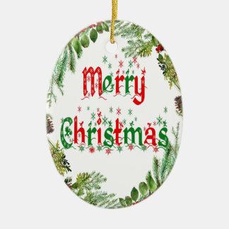 Ornamento De Cerâmica Feliz Natal vermelho & verde