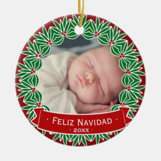 Ornamento De Cerâmica Feliz Navidad sua própria foto personalizada do