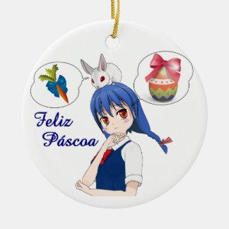 Ornamento De Cerâmica Feliz Páscoa (Personalizável)