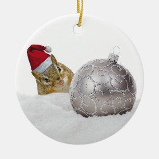 Ornamento De Cerâmica Feriado bonito da prata do Chipmunk e do Natal da