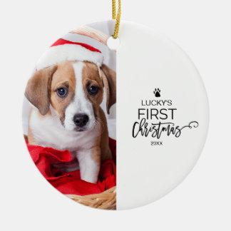 Ornamento De Cerâmica Feriado da foto do Natal do animal de estimação