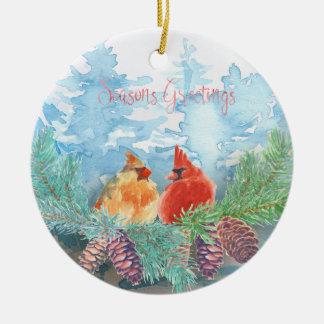 Ornamento De Cerâmica Feriado do Natal - árvores dos cardeais da