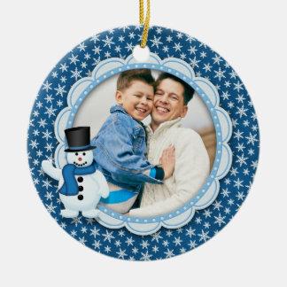 Ornamento De Cerâmica Feriado do Natal - foto gelado do floco de neve