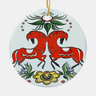 Ornamento De Cerâmica Feriado feliz, cavalos de Escandinávia