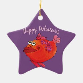Ornamento De Cerâmica Feriado Funky da arte dos peixes no rosa e no