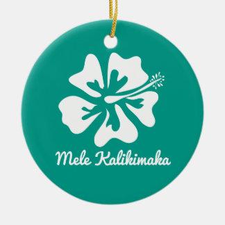 Ornamento De Cerâmica Feriado havaiano do Natal da flor de Mele