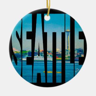 Ornamento De Cerâmica Feriado moderno da foto da tipografia da skyline