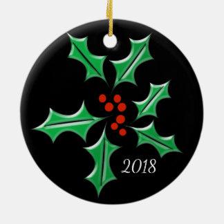 Ornamento De Cerâmica Feriado retro do costume da folha do preto do