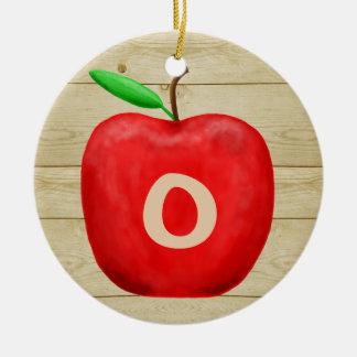 Ornamento De Cerâmica Feriado vermelho do monograma de Apple
