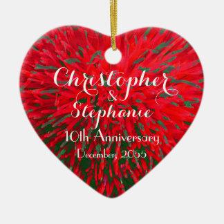 Ornamento De Cerâmica Feriado vermelho e verde do Natal do aniversário
