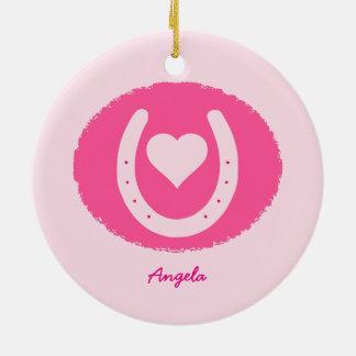 Ornamento De Cerâmica ferradura e coração cor-de-rosa