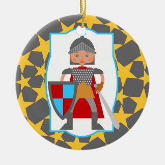 Ornamento De Cerâmica Festa de aniversário brava do menino do cavaleiro