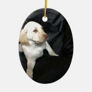 Ornamento De Cerâmica Filhote de cachorro amarelo Sadie do laboratório