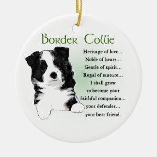 Ornamento De Cerâmica Filhote de cachorro de border collie