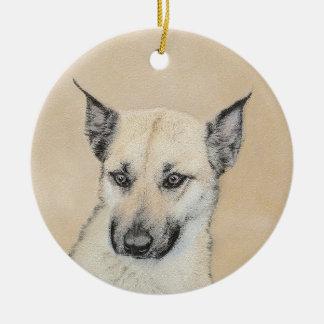 Ornamento De Cerâmica Filhote de cachorro de Chinook (orelhas aguçado)