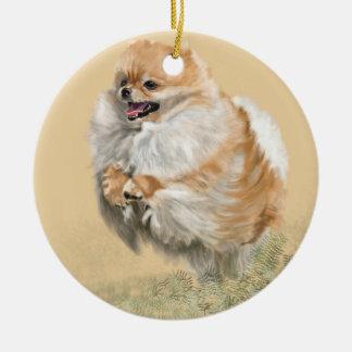 Ornamento De Cerâmica Filhote de cachorro de Pomeranian
