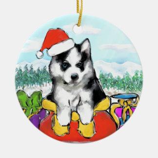 Ornamento De Cerâmica Filhote de cachorro do Malamute do Alasca