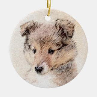 Ornamento De Cerâmica Filhote de cachorro do Sheepdog de Shetland que