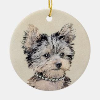 Ornamento De Cerâmica Filhote de cachorro do yorkshire terrier que pinta