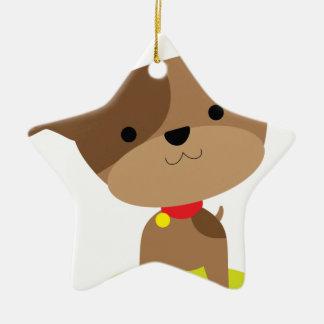 Ornamento De Cerâmica filhote de cachorro marrom pequeno