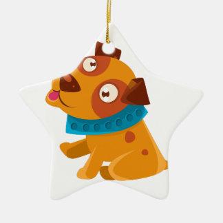 Ornamento De Cerâmica Filhote de cachorro parvo com o colarinho azul