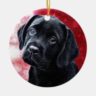 Ornamento De Cerâmica Filhote de cachorro preto dos namorados de
