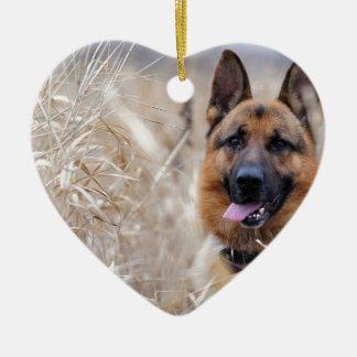 Ornamento De Cerâmica Filhote de cachorro sábio do german shepherd