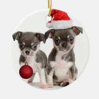 Ornamento De Cerâmica Filhotes de cachorro do Feliz Natal