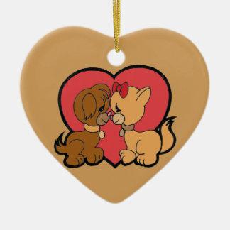 Ornamento De Cerâmica Filhotes de cachorro no amor