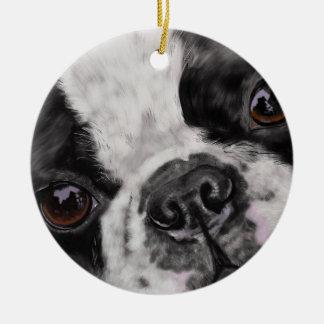 Ornamento De Cerâmica Fim de Boston Terrier acima