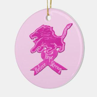 Ornamento De Cerâmica Fita cor-de-rosa picante do leão