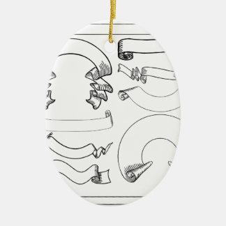 Ornamento De Cerâmica Fitas e bandeiras de rolos ajustadas