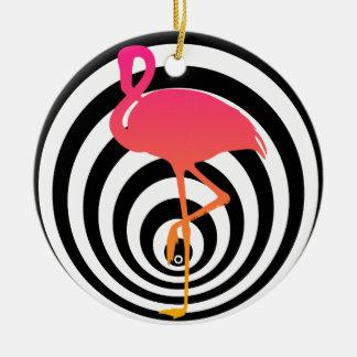 Ornamento De Cerâmica Flamingo bonito nos círculos