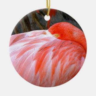 Ornamento De Cerâmica Flamingo cor-de-rosa do sono